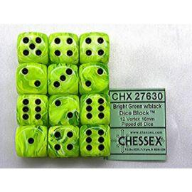 Chessex 16mm d6 with pips Dice Blocks (12 Dice) - Vortex Bright Green w/black