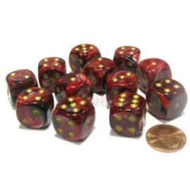 Chessex 16mm d6 with pips Dice Blocks (12 Dice) - Vortex Burgundy w/gold