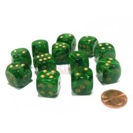 Chessex 16mm d6 with pips Dice Blocks (12 Dice) - Vortex Green w/gold