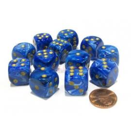 Chessex 16mm d6 with pips Dice Blocks (12 Dice) - Vortex Blue w/gold