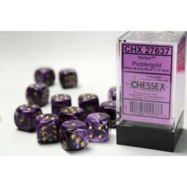 Chessex 16mm d6 with pips Dice Blocks (12 Dice) - Vortex Purple w/gold