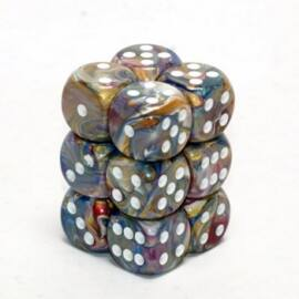 Chessex 16mm d6 with pips Dice Blocks (12 Dice) - Festive Carousel w/white