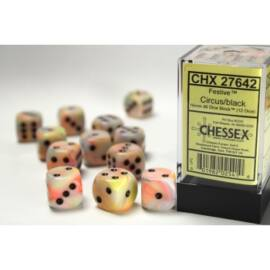 Chessex 16mm d6 with pips Dice Blocks (12 Dice) - Festive Circus w/black