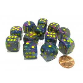 Chessex 16mm d6 with pips Dice Blocks (12 Dice) - Festive Rio w/yellow