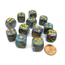 Chessex 16mm d6 with pips Dice Blocks (12 Dice) - Festive Mosaic/yellow