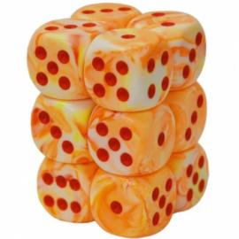 Chessex 16mm d6 with pips Dice Blocks (12 Dice) - Festive Sunburst w/red