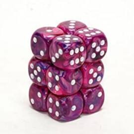 Chessex 16mm d6 with pips Dice Blocks (12 Dice) - Festive Violet w/white