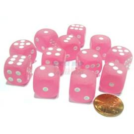 Chessex 16mm d6 with pips Dice Blocks (12 Dice) - Frosted Polyheral Pink w/white