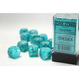 Chessex 16mm d6 with pips Dice Blocks (12 Dice) - Cirrus Aqua w/silver