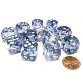 Chessex 16mm d6 with pips Dice Blocks (12 Dice) - Nebula Dark Blue w/white