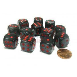 Chessex 16mm d6 with pips Dice Blocks (12 Dice) - Velvet Black w/red