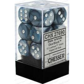 Chessex 16mm d6 with pips Dice Blocks (12 Dice) - Lustrous Slate w/white