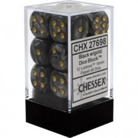 Chessex 16mm d6 with pips Dice Blocks (12 Dice) - Lustrous Black w/gold