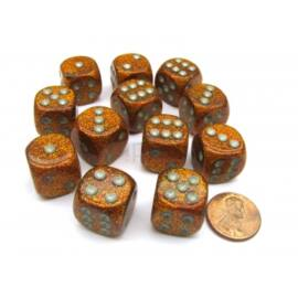 Chessex 16mm d6 with pips Dice Blocks (12 Dice) - Glitter Polyhedral Gold/silver