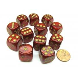 Chessex 16mm d6 with pips Dice Blocks (12 Dice) - Glitter Polyhedral Ruby/gold