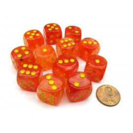 Chessex 16mm d6 with pips Dice Blocks (12 Dice) - Ghostly Glow Orange/yellow