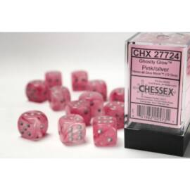 Chessex 16mm d6 with pips Dice Blocks (12 Dice) - Ghostly Glow Pink/silver