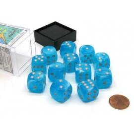 Chessex 16mm d6 with pips Dice Blocks (12 Dice) - Luminary Sky/silver