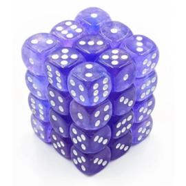 Chessex Signature 12mm d6 with pips Dice Blocks (36 Dice) - Borealis Purple w/white