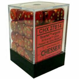 Chessex Signature 12mm d6 with pips Dice Blocks (36 Dice) - Scarab Scarlet w/gold