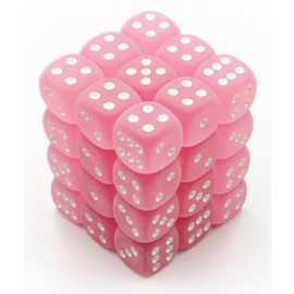 Chessex Signature 12mm d6 with pips Dice Blocks (36 Dice) - Frosted Polyheral Pink w/white