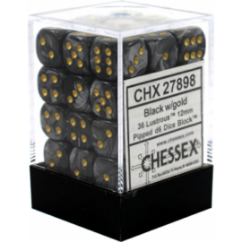 Chessex Signature 12mm d6 with pips Dice Blocks (36 Dice) - Lustrous Black w/gold