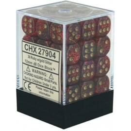 Chessex Signature 12mm d6 with pips Dice Blocks (36 Dice) - Glitter Polyhedral Ruby/gold