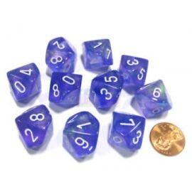 Chessex Borealis Purple/white Luminary Set of Ten d10s