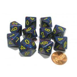 Chessex Borealis Royal Purple/gold Luminary Set of Ten d10s
