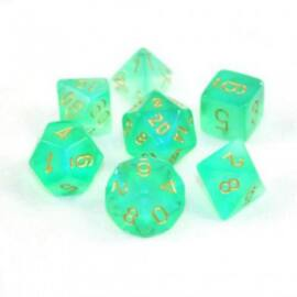 Chessex Borealis Polyhedral Light Green/gold Luminary 7-Die Set