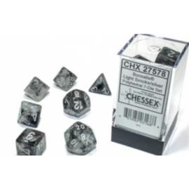 Chessex Borealis 16mm d6 Light Smoke/silver Luminary Dice Block (12 dice)