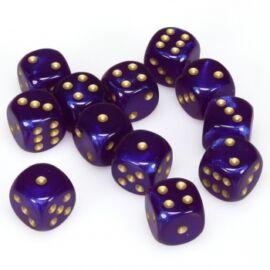 Chessex Borealis 16mm d6 Royal Purple/gold Luminary Dice Block (12 dice)