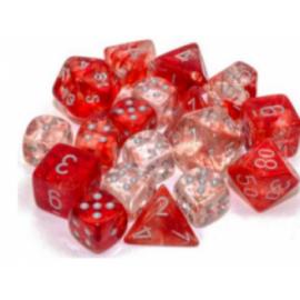Chessex Tens d10 Sets - Nebula TM Red/silver Luminary Set of Ten d10's