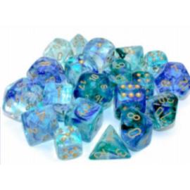 Chessex Tens d10 Sets - Nebula TM Oceanic/gold Luminary Set of Ten d10's