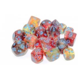 Chessex Tens d10 Sets - Nebula TM Primary/blue Luminary Set of Ten d10's