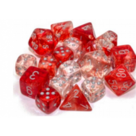 Chessex 16mm d6 Blocks - Nebula TM 16mm d6 Red/silver Luminary Dice Block (12 dice)