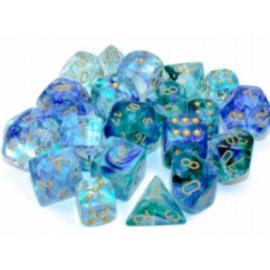 Chessex 16mm d6 Blocks - Nebula TM 16mm d6 Oceanic/gold Luminary Dice Block (12 dice)