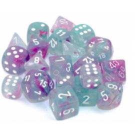 Chessex 12mm d6 Blocks - Nebula TM 12mm d6 Wisteria/white Luminary Dice Block (36 dice)