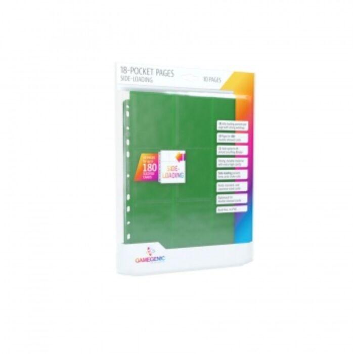Gamegenic - Sideloading 18-Pocket Pages 10 pcs pack Green