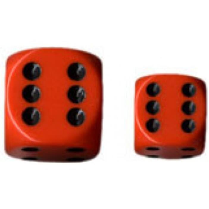 Chessex Opaque 16mm d6 with pips Dice Blocks (12 Dice) - Orange w/black