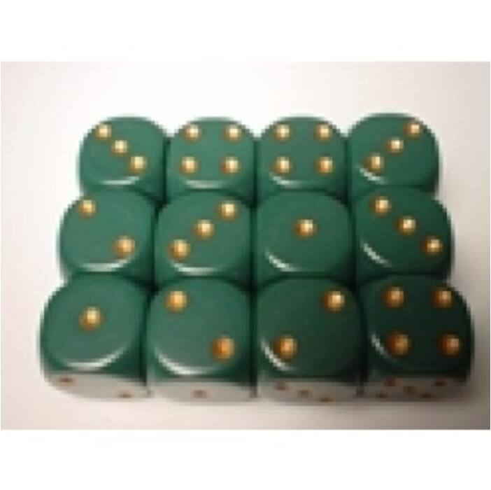 Chessex Opaque 16mm d6 with pips Dice Blocks (12 Dice) - Dusty Green w/gold