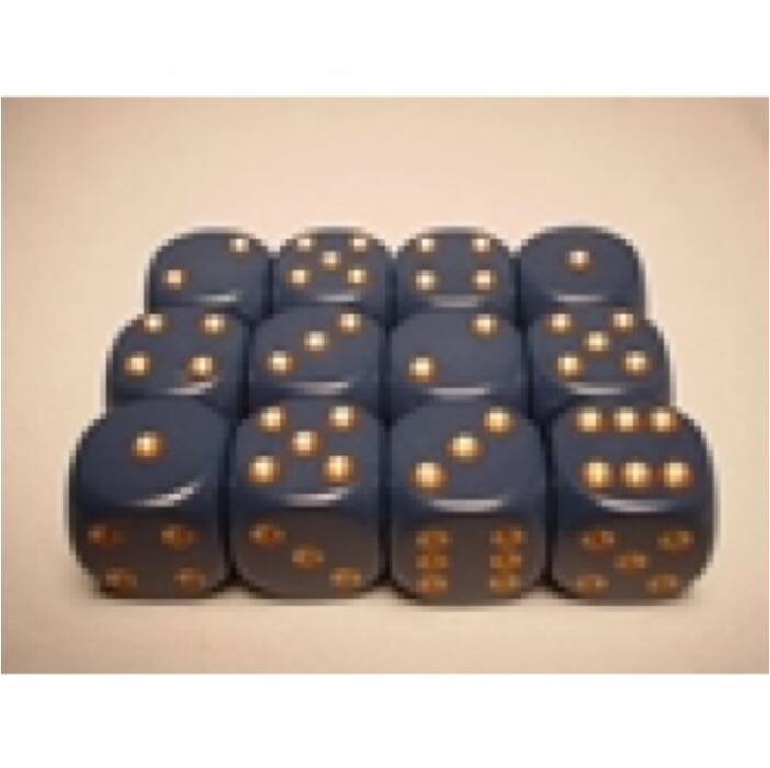 Chessex Opaque 16mm d6 with pips Dice Blocks (12 Dice) - Dusty Blue w/gold