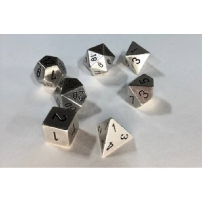 Chessex Specialty Dice Sets - Solid Metal Silver Colour Poly 7 die set