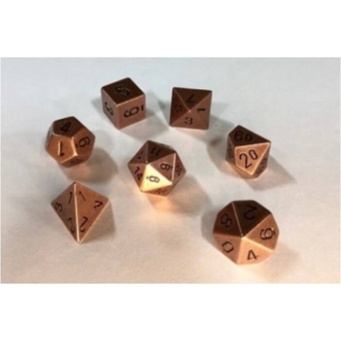 Chessex Specialty Dice Sets - Solid Metal Copper Colour Poly 7 die set