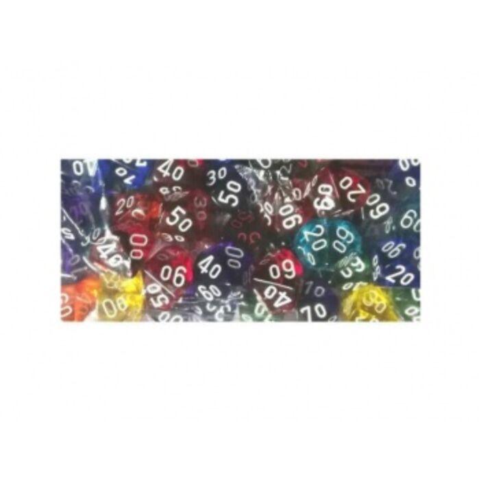 Chessex Translucent Bags of 50 Dice - Bag of 50: Translucent d10