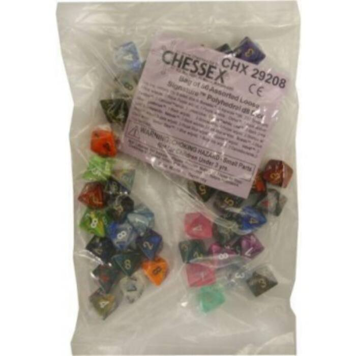 Chessex Signature Bags of 50 Asst. Dice - Poly. d8 Dice