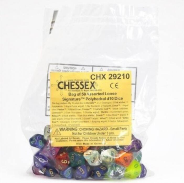 Chessex Signature Bags of 50 Asst. Dice - Poly. d10 Dice
