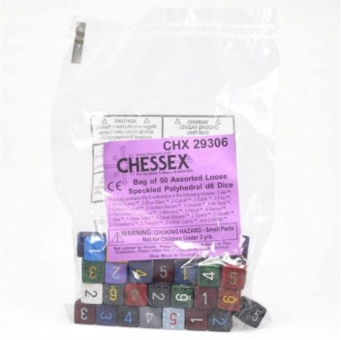 Chessex Speckled Bags of 50 Asst. Dice - Loose Speckled Polyhedral d6 Dice