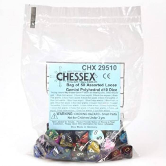 Chessex Gemini Bags of 50 Asst. Dice - Loose Gemini Poly. d10 Dice