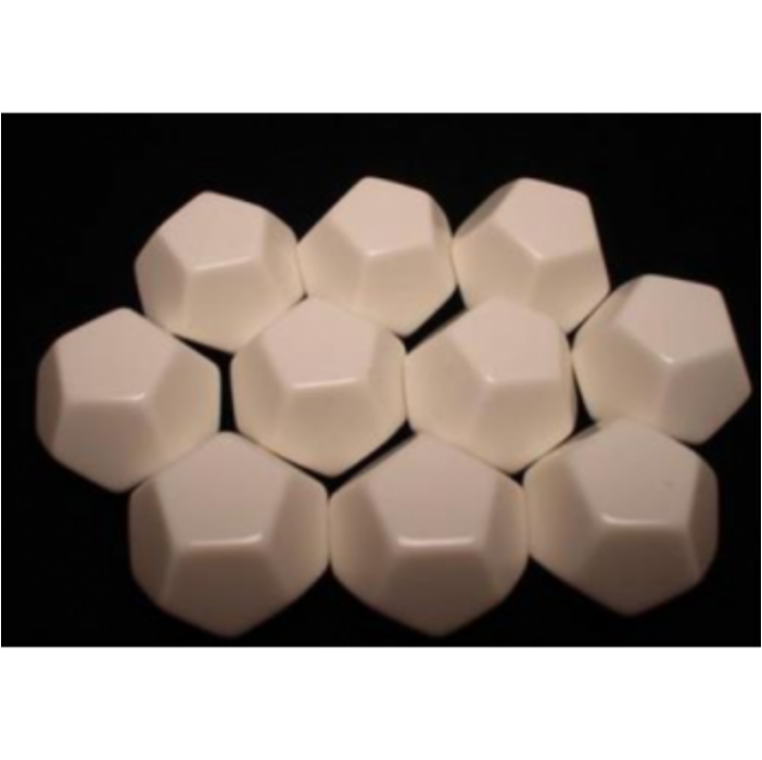Chessex Opaque Polyhedral Bag of 10 Blank dice - Opaque Polyhedral Ivory Bag of 12 Blank 12-sided dice